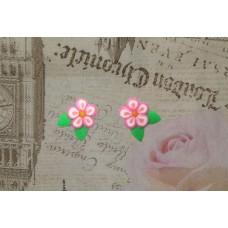 Cercei flori roz cu frunze