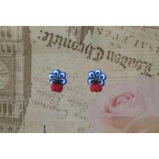 Cercei flori albastre cu buburuze