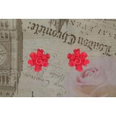 Cercei buchetel trandafiri rosii