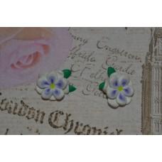 Cercei flori alb-mov