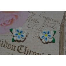 Cercei flori alb-albastru