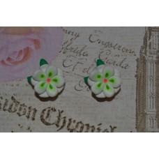 Cercei flori alb-verde