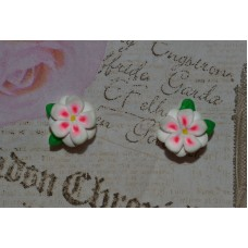 Cercei flori alb-roz