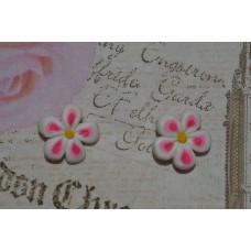 Cercei floricele alb roz