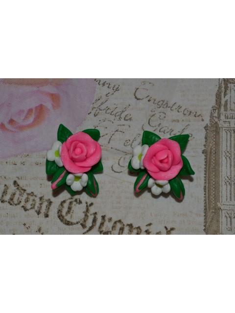 Cercei buchetel roz