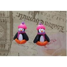 Cercei pinguini roz