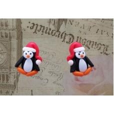 Cercei pinguini rosu