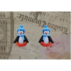 Cercei pinguini bleu