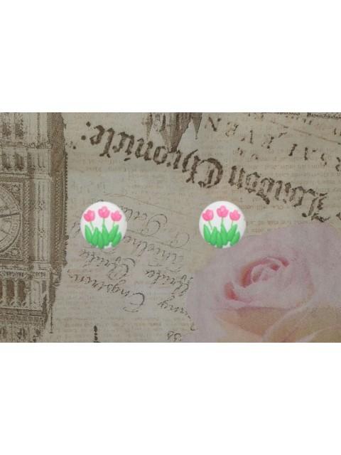 Cercei lalele roz