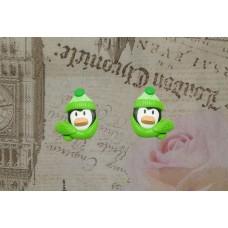 Cercei pinguini verde