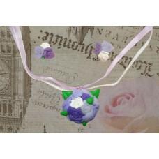 Set colier - cercei buchet de trandafiri