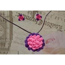 Set colier - cercei tradanfiri roz