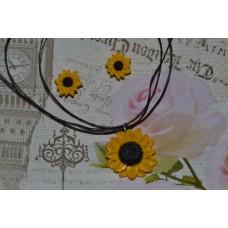 Set colier - cercei floarea soarelui