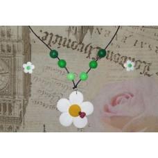 Set colier - cercei flori albe